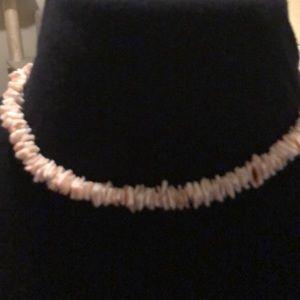 "Vintage puka shell necklace 1970's 16"" strand"